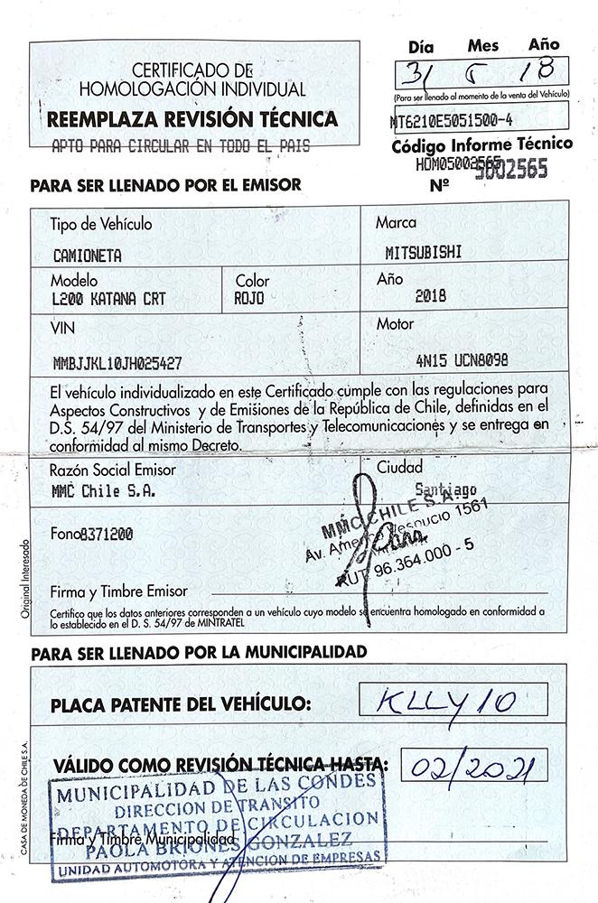 Certificado de homologación