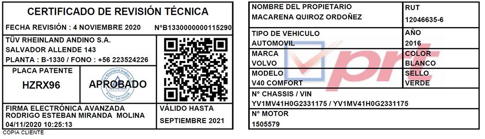 Certificado de Revisión Técnica
